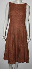VINTAGE Orange Brown Lace Long Full Circle Dress XS S 0 2 4