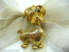18KGP Schnauzer Dog Swarovski Element Austrian Crystal Rhinestone Brooch Pin