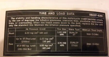 KAWASAKI Z550 KZ550 TIRE AND LOAD DATA CAUTION WARNING DECAL