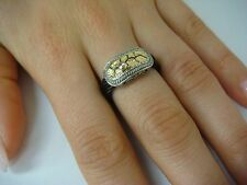 STUNNING, CHARRIOL 18K GOLD ROSE CUT DIAMOND & BLACK CABLE RING SIZE 6