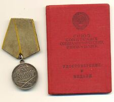 Soviet Medal Order for Combat Valor  Bravery and Document  (#1916)