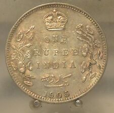 1905 India (British) Silver 1 Rupee, Old World Silver Coin