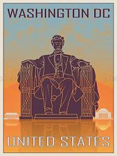 Travel TOURISM Washington USA Lincoln Memorial Capitol vecteur Poster bmp10772