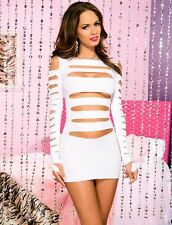ML-6405 Sexy Gogo Dancer Rave Raver Wear Clubwear Cut Out White Hot Mini Dress