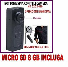BOTTONE CON MICROCAMERA SPIA CIMICE VIDEO FOTO NASCOSTA MICRO CAMERA + SD 8GB