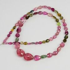 48CT Multi Tourmaline Faceted Center Drilled Heart Briolette Bead 16 inch strand