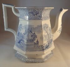 Davenport Blue & White Lidless Friburg Tea Pot  Water Jug Pitcher Ewer  C1840