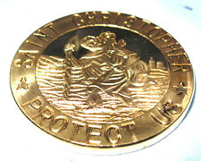 ST CHRISTOPHER Saint Medallion Coin Travelers Protection Safety Gold Lucky Charm
