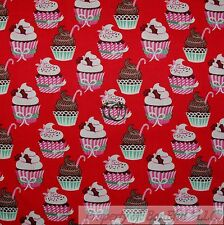 BonEful Fabric FQ Cotton Quilt Red CUP*CAKE Chocolate Candy Cane Xmas Flower USA