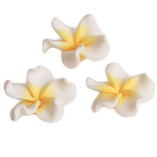 20pcs White&Yellow Flower Shape FIMO Polymer Clay Charms Beads Jewelry Making C