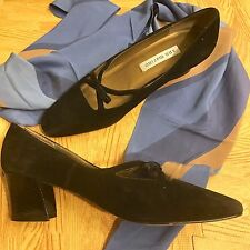 VINTAGE ANN MARINO WOMEN'S BLACK SUEDE PUMPS SIZE 7 1/2N WITH LEATHER SOLES