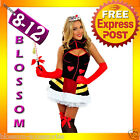 E96 Queen of Hearts Alice in Wonderland Fancy Dress Costume Outfit + Tiara