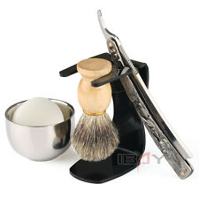 Vintage Barber Salon Straight Cut Throat Shaving Razor Men's Gift Set UK Stock