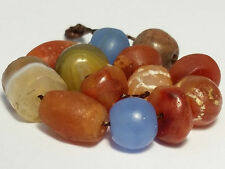13 ANCIENT RARE BEADS (AGATE, ETCHED CARNELIAN, GLASS, CARNELIAN......)