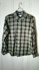 TOMMY BAHAMA BROWN AND BLUE PLAID LONG SLEEVE LARGE BUTTON FRONT SHIRT