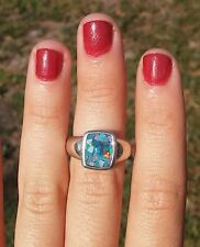 Mosaic Opal Solid Sterling Silver 925 Ring Sz 6