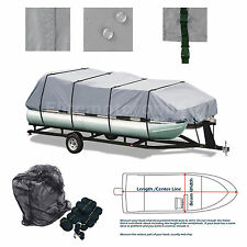 Delexe Trailerable All Weather Pontoon boat cover Grey Fits 21' -24' L