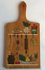 Nevco Wood Cutting Board Vintage 1968 MCM Kitchen Utensils Spice Cheese Fruit