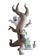 8 Foot Halloween LED Inflatable Grave Scene with Ghost Tombstone Yard Decoration