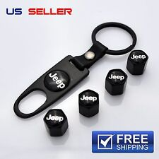 JEEP VALVE STEM CAPS + KEYCHAIN WHEEL TIRE BLACK - US SELLER VS27