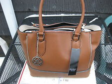 NWOT Mondani Rita Tote Satchel Womens Brown Faux Saffiano Leather Handbag Purse