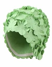 Green Vintage Style Ladies Swimming Hat With Flowers Bathing Cap Swim Cap Beco