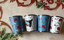 4  RUSSIAN ENAMEL & WOHV SHOT GLASS SET SILVERPLATE STOPKA CUPS  LENINGRAD USSR
