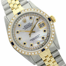 Rolex Womens Two-Tone Datejust 6917 Mother of Pearl Watch String Dia. & Sapphire