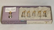 Eggplant Name Card Holders NEW In Box Silvertone Set of 6 Metal