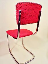 Mid Century Kitchen Chairs Chrome Retro 1950s Recovered Red Black Set of 2 1940s