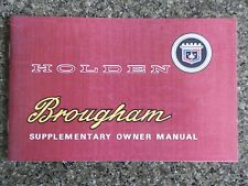 HOLDEN 1968 HK BROUGHAM SUPPLEMENTARY OWNERS MANUAL