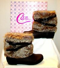 NEW GIRLS CANDIES DIORA BROWN FAUX FUR LEATHER BUCKLE ANKLE BOOTS SZ 5 CADIORA