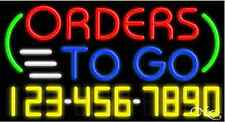 "NEW ""ORDERS TO GO"" W/YOUR PHONE NUMBER 37x20 NEON SIGN W/CUSTOM OPTIONS 15030"