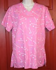 Pink Breast Cancer Awareness Scrub Top Size Small (EUC) Support The Cure