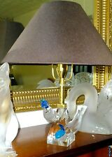 ". EXTREMELY RARE LALIQUE CRISTAL ""PILMICOS"" TWO 2 BIRDS LAMP. ... MAGNIFICENT SI"