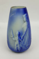 Victorian milk glass vase with Dutch woman and boy in relief blue finish 5.5 in