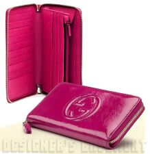GUCCI fuchsia Patent Leather SOHO Interlocking G Zip Around LRGE wallet NIB Auth