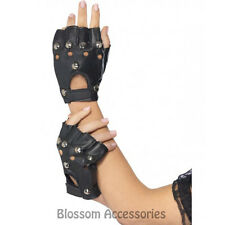 A477 Black Punk Gloves w/ Studs Rocker Rock 80s Party Costume Accessory