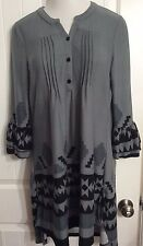 Women's  XL REBORN Tunic Dress Charcoal & Black Pintucked Hi Lo Hem