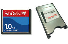 SanDisk 1G CF Compact Flash Card with Case + CF Card PC PCMCIA Adapter Bulk Pack