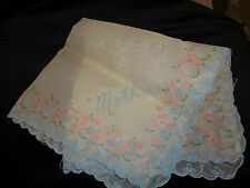 "Vintage Nylon Blue & Pink ""MOTHER"" Women's Handkerchief Pre-owned"