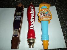 Set of Three Keg Tap Handles Budwieser Red, Pyramid Autum Lager, Woden Russian
