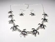 BEACH FASHION RHODIUM NAUTICAL SEA LIFE SEA TURTLE POD NECKLACE & EARRINGS