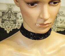 Hand made beaded and sequined choker necklace, hot trending chic catwalk look