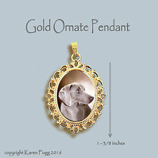 WEIMARANER DOG  - ORNATE GOLD PENDANT NECKLACE