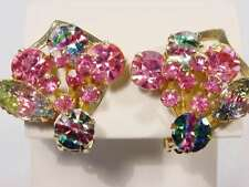 Vintage Selro Selini Iris Rainbow Rhinestones Lava Stones - Pinks- Clip Earrings