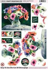 A4 ANEMONES FLOWERS TOPPER EMBELLISHMENTS FOR CARDS AND CRAFTS