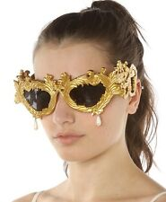 Linda Farrow x Jeremy Scott Flourish Baroque Gold Sunglasses w/ Pearl Drops