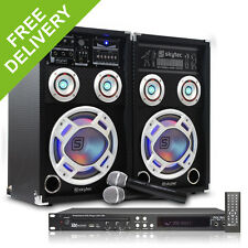 "Skytec 8"" Karaoke Party System RGB LED Speakers Microphones DVD CD+G Player 600W"