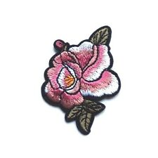 Wild Rose Flower Leaf Embroidered Iron Sew On Patch Peace Hippie Love